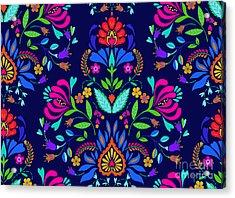 Seamless Floral Folk Pattern. Slavic Acrylic Print