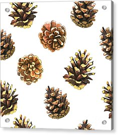 Seamless Floral Pattern On A White With Acrylic Print