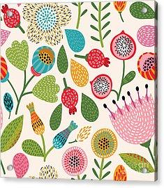 Seamless Floral Pattern Acrylic Print
