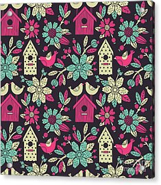 Seamless Floral Pattern With  Birdhouses Acrylic Print
