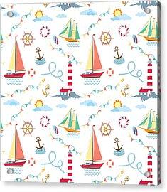 Seamless Marine Pattern With Ships Acrylic Print