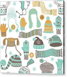 Seamless Pattern Of Winter Woollies Acrylic Print by Lavandaart