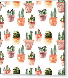 Seamless Pattern With Cactus Acrylic Print