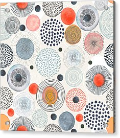 Seamless Pattern With Doodle Circles Acrylic Print