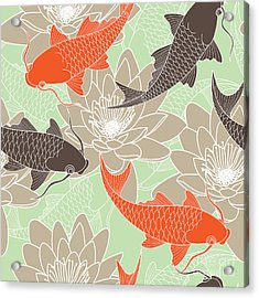 Seamless Pattern With Lotus And Carps Acrylic Print