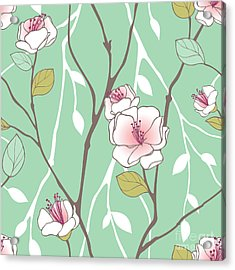 Seamless Pattern With Styled Spring Acrylic Print