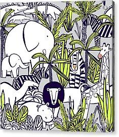 Seamless Pattern With Wild Animals Acrylic Print
