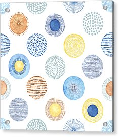Seamless Summer Pattern With Hand-drawn Acrylic Print by Nikiparonak