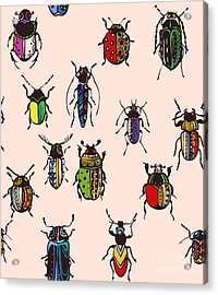 Seamless Texture With Funny Bugs Acrylic Print