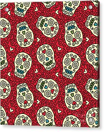 Seamless With Mexican Skulls Acrylic Print
