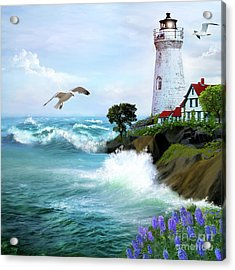 Seascape With Lighthouse Acrylic Print