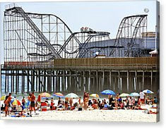 Seaside Heights Star Jet Roller Coaster Color 2006 Acrylic Print by John Rizzuto