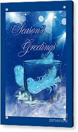 Acrylic Print featuring the mixed media Season's Greetings Blue With Bird by Rachel Hannah