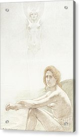 Seated Female Nude With Ghostly Female Figure In The Background, 1897 Acrylic Print