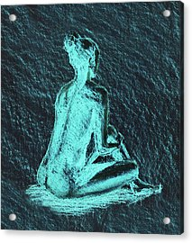 Seated Nude Model In Teal And Gray Charcoal  Acrylic Print