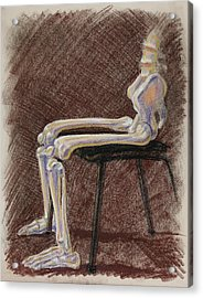 Seated Skeleton Legs And Hips In Pastel  Acrylic Print