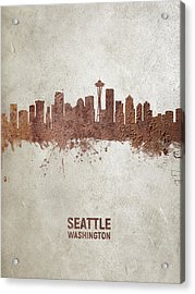 Seattle Washington Rust Skyline Acrylic Print
