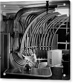 Secretary With Pneumatic Tube Acrylic Print by Walter Nurnberg