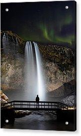 Acrylic Print featuring the photograph Seljalandsfoss Northern Lights Silhouette by Nathan Bush