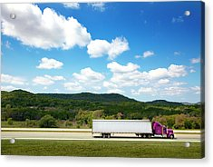 Semi Truck On Highway Acrylic Print
