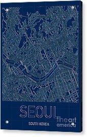 Seoul Blueprint City Map Acrylic Print