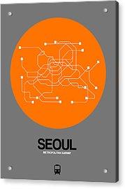 Seoul Orange Subway Map Acrylic Print