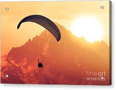 Sepia Paraglide Silhouette Over Alps Acrylic Print