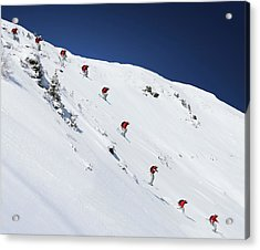 Sequence Of Male Skier Jumping Down Acrylic Print