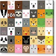 Set Of Cute Simple Animal Faces Acrylic Print by Olesia Misty