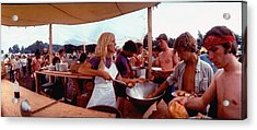 Several Young People Dishing Out Food To Acrylic Print by John Dominis