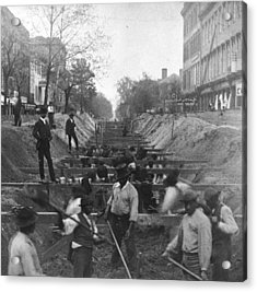 Sewer Digging Acrylic Print by Hulton Archive