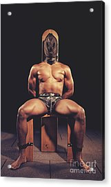 Sexy Man Tiedup On A Bdsm Chair Acrylic Print
