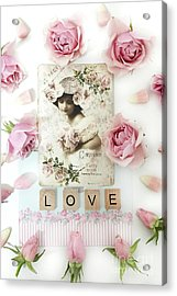 Shabby Chic Love Pink Roses Victorian Floral Vintage French Girl Pink Roses Love Decor Acrylic Print