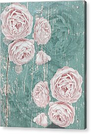 Shabby Chic Roses Distressed Acrylic Print