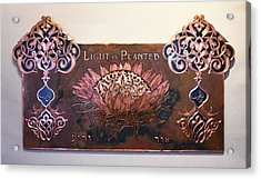 Acrylic Print featuring the mixed media Shams Enflowered by Shahna Lax