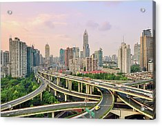 Shanghai Overpass At Dusk Acrylic Print by Fei Yang
