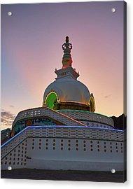 Acrylic Print featuring the photograph Shanti Stupa by Whitney Goodey