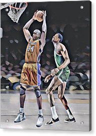 Shaquille O Neal Vs Bill Russell Abstract Art 1 Acrylic Print