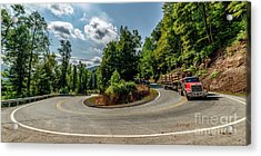 Sharp Curve Country Road  Acrylic Print
