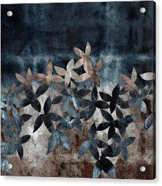Shibori Leaves Indigo Print Acrylic Print