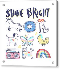 Shine Bright - Baby Room Nursery Art Poster Print Acrylic Print