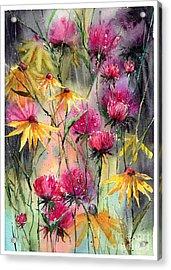 Shiny Rudbeckia And Thistle Acrylic Print