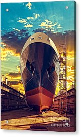 Ship In Dry Dock At Sunrise - Shipyard Acrylic Print