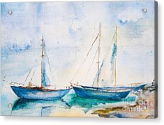 Ships In The Sea, Watercolor Painting Acrylic Print
