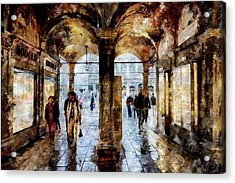 Shopping Area Of Saint Mark Square In Venice, Italy - Watercolor Effect Acrylic Print
