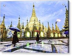 Shwedagon Pagoda In Yangon, Myanmar At Acrylic Print
