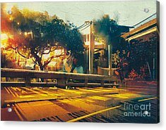 Side View On Empty Street Landscape At Acrylic Print
