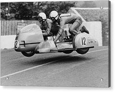 Sidecar Tt Race, Isle Of Man, 1970 Acrylic Print