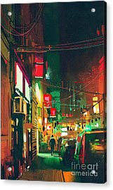 Sidewalk In The City At Night With Acrylic Print