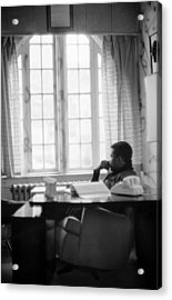 Sidney Poitier Looks Through A Window Acrylic Print by Gordon Parks